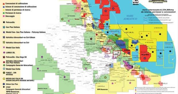 cartina con le città 2011 permessi ricerca ed estrazione