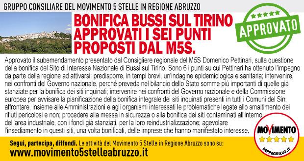 Bonifica Bussi sul Tirino approvati i sei punti proposti dal M5S