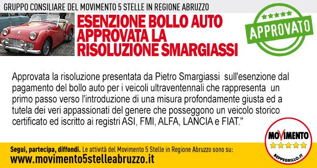Esenzione Bollo auto, approvata risoluzione Smargiassi